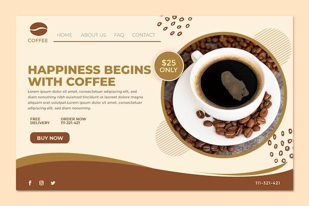 La felicidad comienza con la página de destino del café