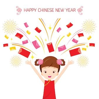 Felicidad niña con sobre volando, celebración tradicional, china, feliz año nuevo chino