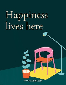 La felicidad vive aquí vector de plantilla para volante interior dibujado a mano