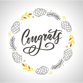 Felicidades felicidades tarjeta letras caligrafía texto