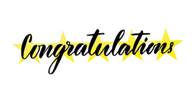 Felicidades a mano letras. tarjeta de felicitación de vector con caligrafía sobre fondo creativo