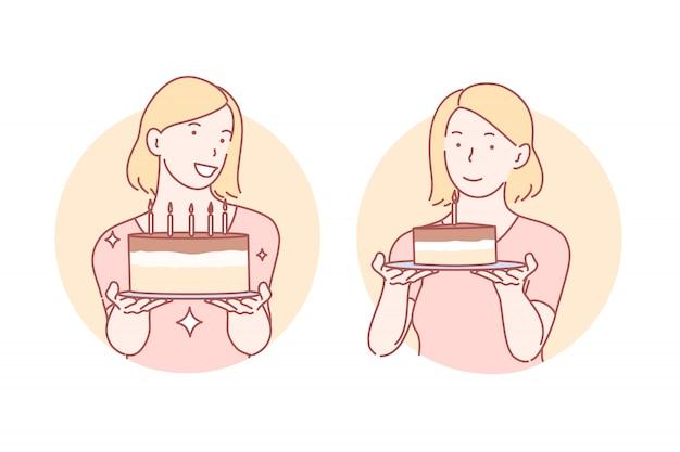 Felicidades, pastel de cumpleaños set ilustración