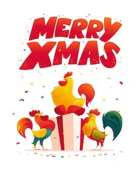 Felicitación de año nuevo. gallo, ilustración de dibujos animados de retrato de gallo. elemento de tarjeta navideña. feliz navidad, feliz año nuevo tarjeta de memoria, diseño de publicidad. símbolo del año chino.