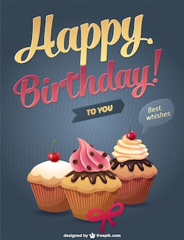 Felicitación de cumpleaños con cupcakes