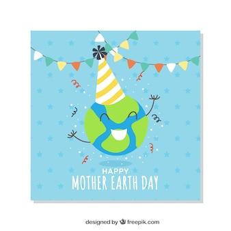 Felicitación del día de la tierra con gorro de cumpleaños