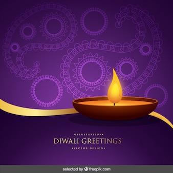 Felicitación de diwali morada y dorada