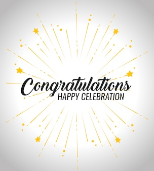 Felicitación feliz celebración de eventos con decoración de estrellas