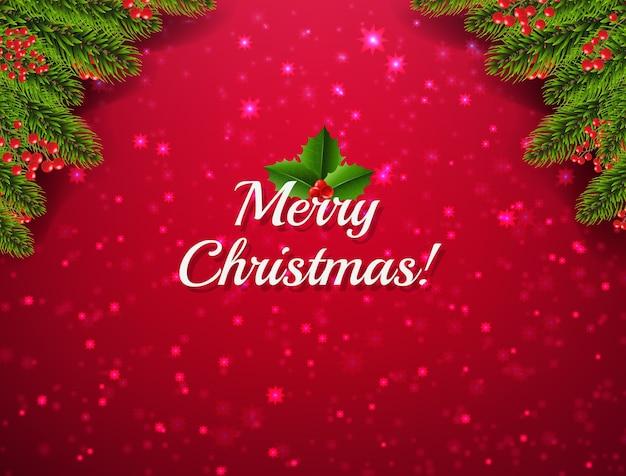 Felicitación navideña con brillo y marco de bayas de acebo