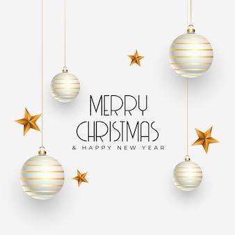 Felicitación navideña con elementos de decoración realistas.