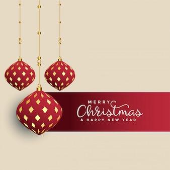 Felicitación navideña premium con bolas de navidad decorativas colgantes.