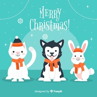 Felicitaciones con animales en navidad