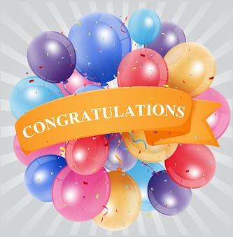 Felicitaciones celebración con globo.
