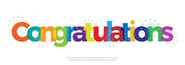 Felicitaciones de colores con fuegos artificiales sobre fondo blanco