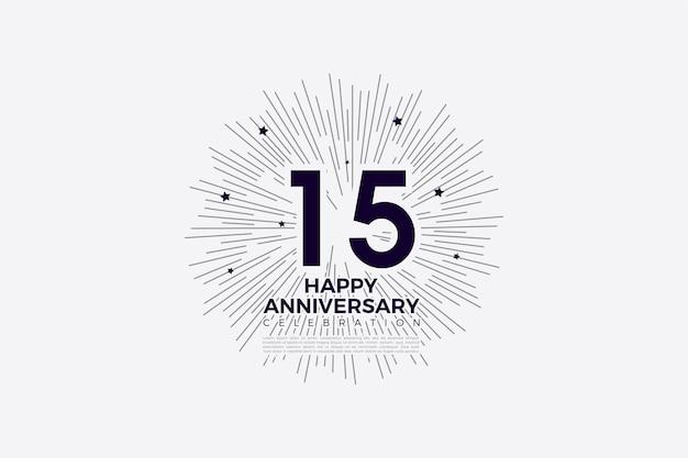Felicitaciones por el fondo del 15 aniversario con números e ilustración de fondo rayado
