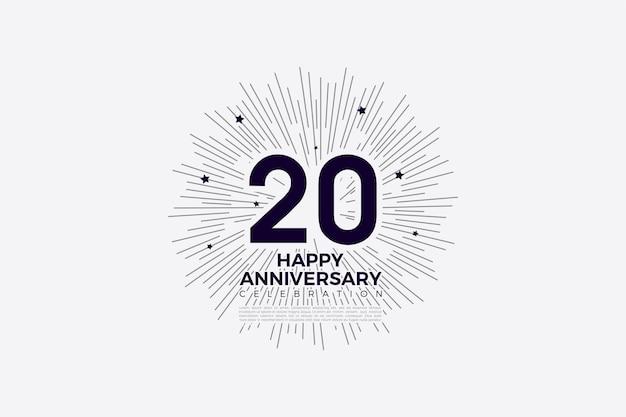 Felicitaciones por el fondo del 20 aniversario con números e ilustración de fondo rayado