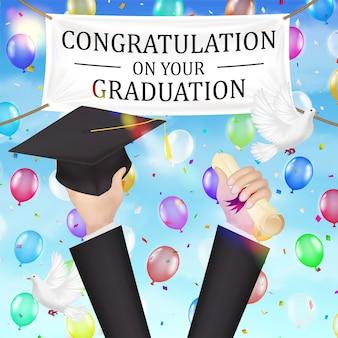 Felicitaciones graduación banner y diploma, sombrero