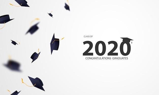 Felicitaciones a los graduados de la clase de 2020 con mortarboard volador.