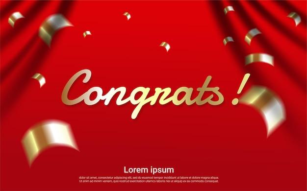 Felicitaciones con plantilla de cortina