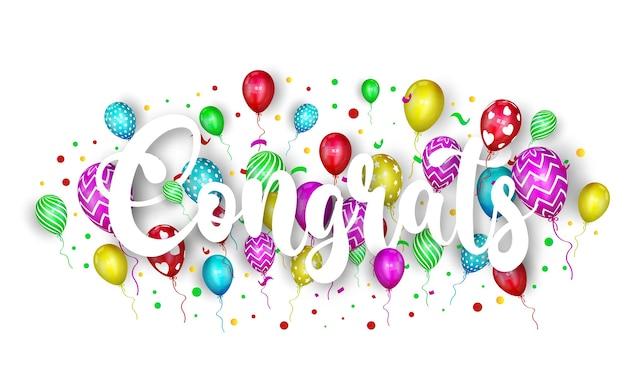 Felicitaciones rotulación con globo y confeti.
