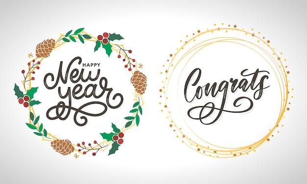 Felicitaciones tarjeta de felicitación texto de caligrafía de letras