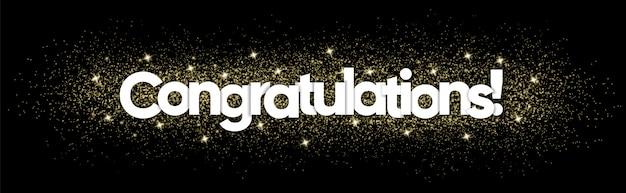 Felicitaciones tipografía con decoración brillante