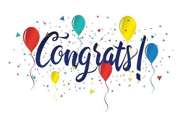 Felicitaciones tipografía letras manuscritas tarjeta de felicitación banner