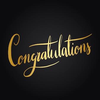 Felicitaciones tipografía redacción estilo vector