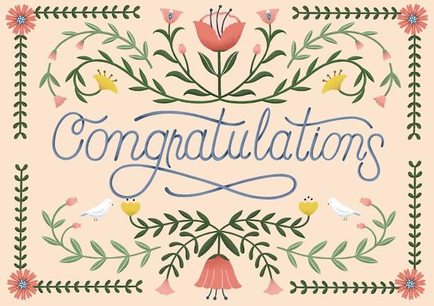Felicitaciones tipográficas con decoración dibujada a mano.