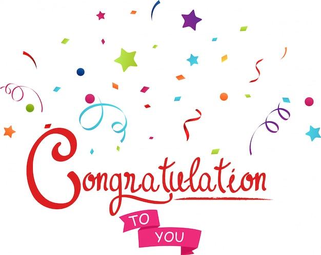 Felicitaciones a usted con confeti.