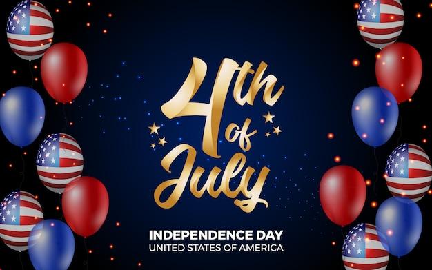 Feliz 4 de julio día de la independencia de américa ilustración
