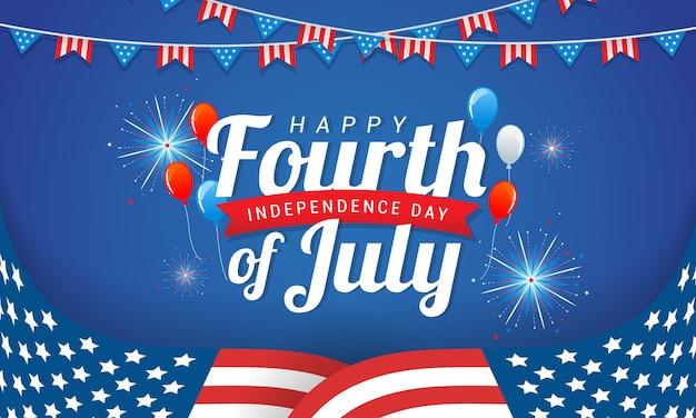 Feliz 4 de julio, diseño de tarjeta de felicitación del día de la independencia de estados unidos