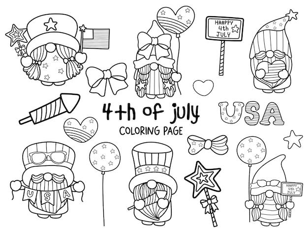 Feliz 4 de julio con gnome coloring page