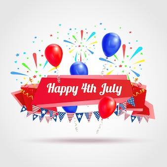 Feliz el 4 de julio postal de felicitación con banderas festivas, fuegos artificiales y globos, símbolos, ilustración realista