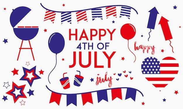 Feliz 4 de julio texto con pequeños vectores de fiesta diseño vectorial del día de la independencia