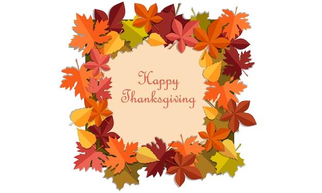 Feliz acción de gracias hojas de otoño