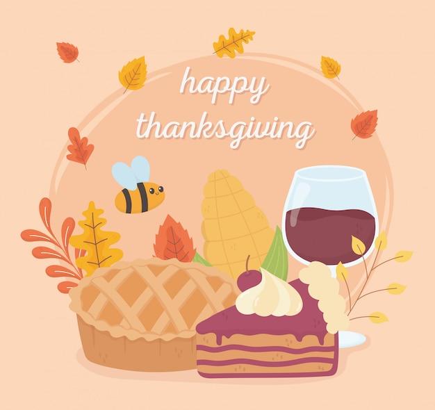 Feliz acción de gracias pastel copa de vino pastel abeja follaje celebración