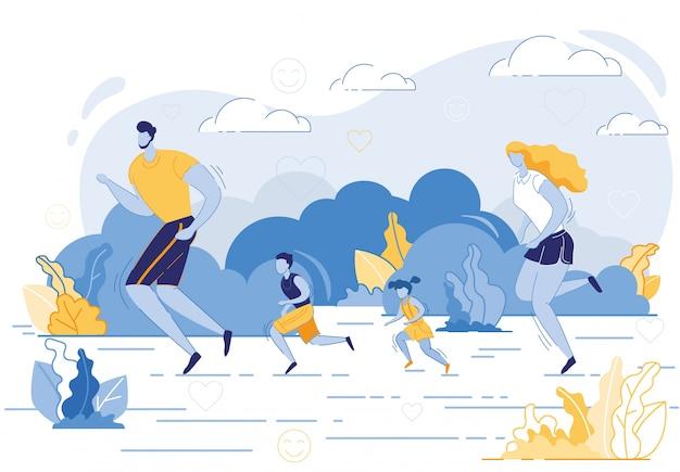 Feliz actividad deportiva familiar. madre, padre, niños