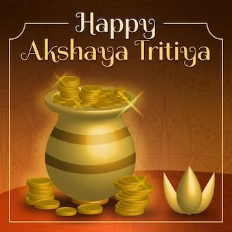 Feliz akshaya tritiya florero y monedas