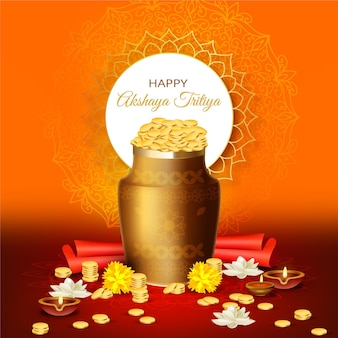 Feliz akshaya tritiya flores y monedas