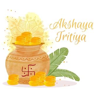 Feliz akshaya tritiya monedas y hojas