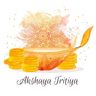 Feliz akshaya tritiya monedas de oro