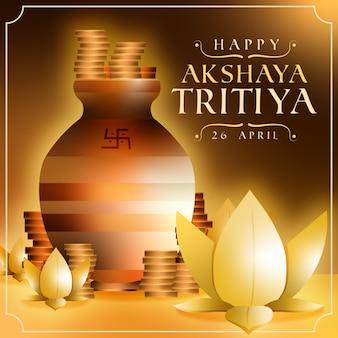 Feliz akshaya tritiya pila de monedas