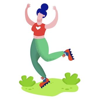 Feliz alegre mujer deportiva patinando sobre rodillos