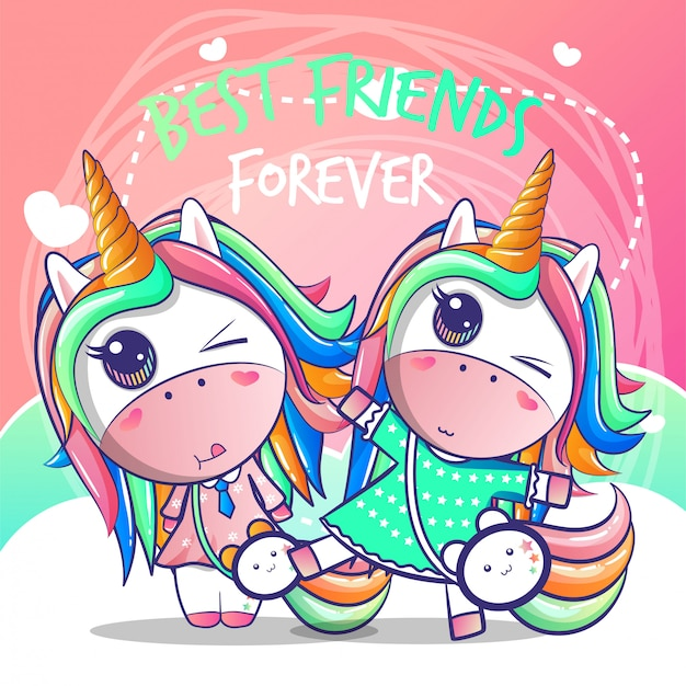 Una feliz amistad unicornio