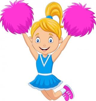 Feliz animadora en uniforme azul con pompones