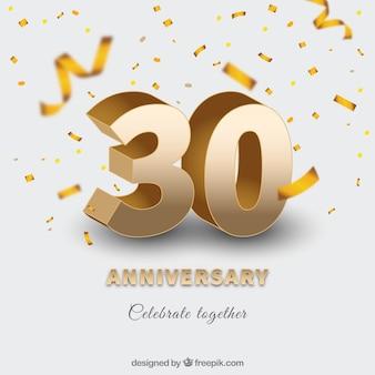 Feliz aniversario con números en estilo dorado
