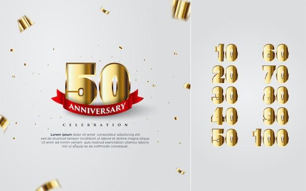 Feliz aniversario en oro con varios números del 10 al 100.