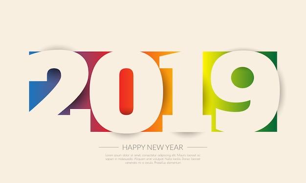 Feliz año 2019 nuevo. tarjeta de saludos diseño colorido