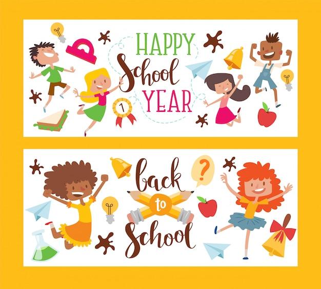 Feliz año escolar conjunto de banner. de vuelta a la escuela. estudiantes o alumnos femeninos y masculinos. niños con equipamiento educativo.