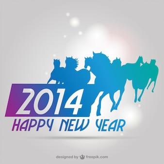 Feliz año nuevo 2014 con caballos azules